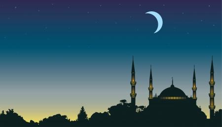 hari raya: night, the moon and a mosque Illustration