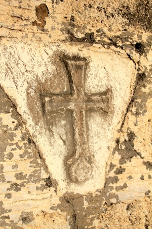 grunge cross: old stone cross Stock Photo