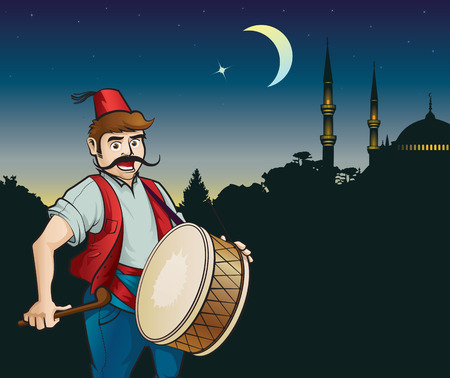 Ramadan drummer, night, the moon and a mosque