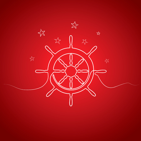 piloting: linear rudder and drawing waves over red background