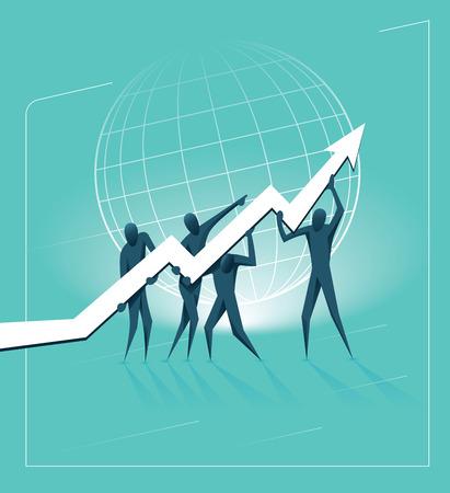team work and global corporate success Vettoriali