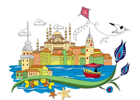 mosques: Istanbul city vintage Illustration