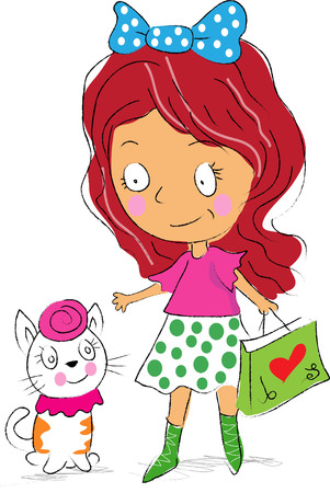 Cute girl with cute cartoon cat