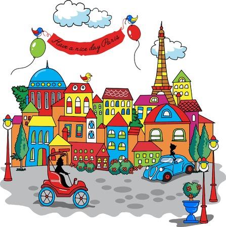 awnings: Paris city cartoon Illustration