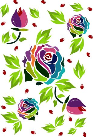 whites: A vector and very special multicolored roses