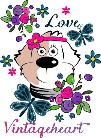 head i: Cute beautiful dog love vintage heart Illustration