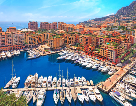 cote d'azur: View over Monaco harbour from the viewpoint, Cote dAzur, France Stock Photo