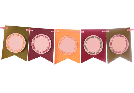 swag: Colorida pancarta bot�n festivo para la decoraci�n del partido Foto de archivo