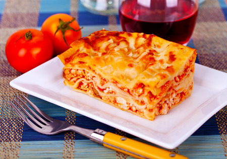 Fresh homemade Lasagna layout on a plate  photo