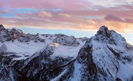 Sunset, sunrise in Alpes - european skiing resort