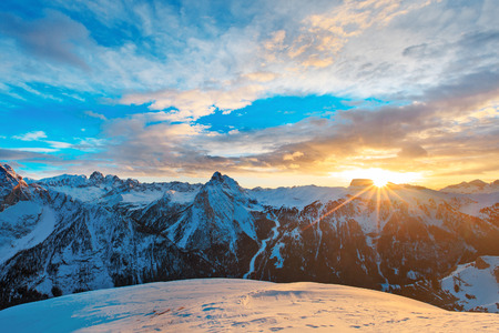 Sunset, sunrise in Alpes - european skiing resort