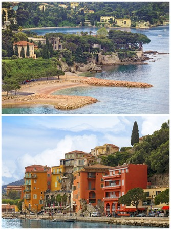 villefranche sur mer: Summer view of French riviera coastline collage, Cote dAzur