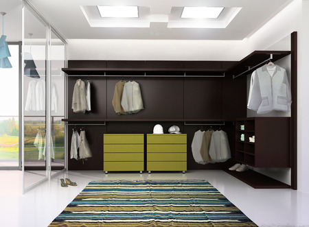 garderobe: 3d render of luxury apartment dressing room interior