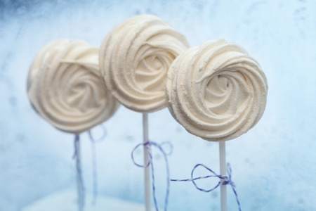 cakestand: Delicious sweet buffet with white marshmallow cake-pops Stock Photo