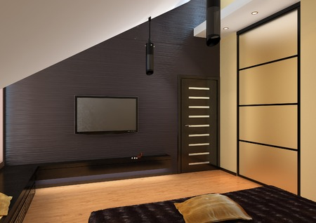 living room tv: 3d rendering of penthouse living room tv console Stock Photo
