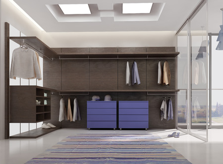 dressing room: 3d render of luxury apartment dressing room interior