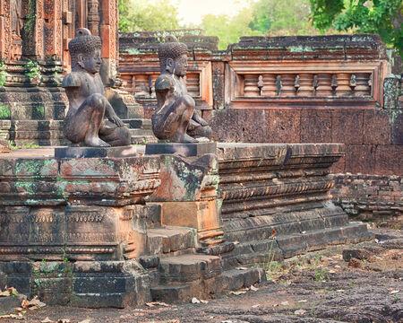 lintel: Angkor Banteay Srei temple guardian statues, Cambodia