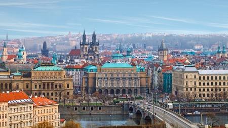 Birds eye view of Prague river bridge