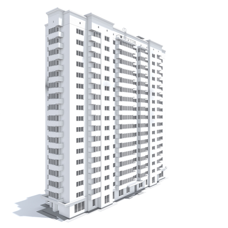 building sketch: 3d rendering of modern multi-storey residential building isolated on white