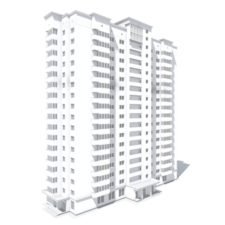 multistorey: 3d rendering of modern multi-storey residential building isolated on white