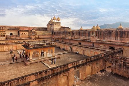 View of Amber fort courtyard, Jaipur, India, Rajasthan
