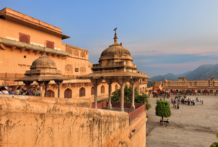 amber fort: View of Amber fort courtyard, Jaipur, India, Rajasthan