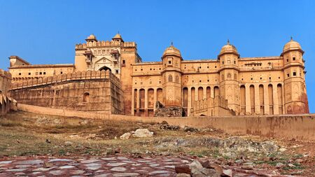 amber fort: View of Amber fort from low ground, Jaipur, India, Rajasthan Editorial