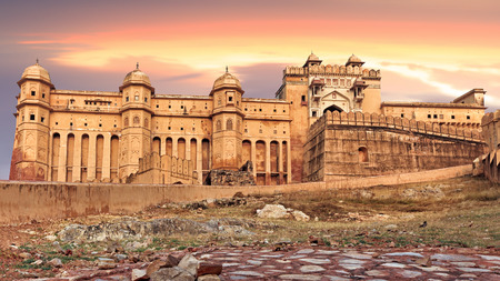 amber fort: View of Amber fort at sunset, Jaipur, India, Rajasthan Editorial