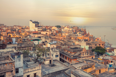 A view of Varanasi and ganga river Stock Photo
