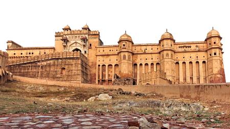 jaipur: Isolated travel landmarks. Amber fort, Jaipur, India, Rajasthan