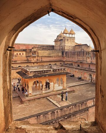 amber fort: View from ancient window of Amber Fort, Jaipur, Rajasthan, India