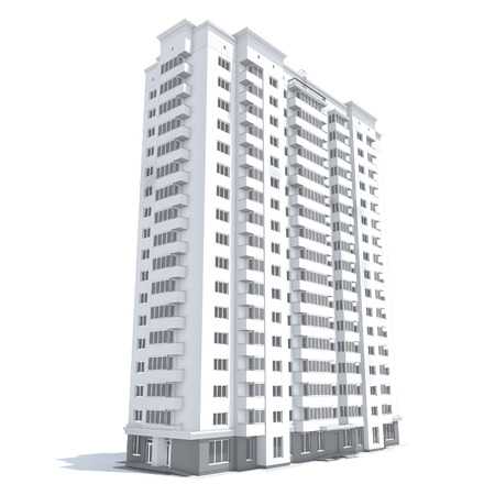 3d rendering of modern multi-storey residential building isolated on white Stock Photo - 38209626