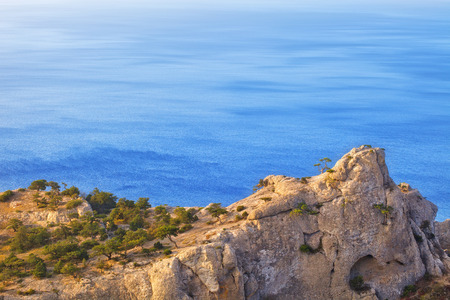 annexation: View of amazing cliff rock with old pines facing the sea, Demergy, Crimea, Ukraine