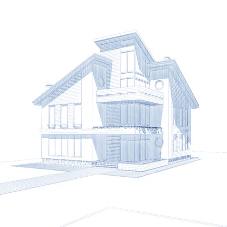 i nobody: 3d rendering of modern private residential house isolated on white Stock Photo