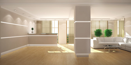 3d rendering of a modern light office lobby with reception