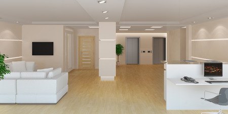 area: 3d rendering of a modern light office lobby with reception