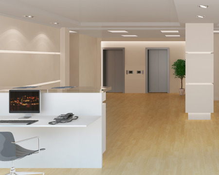 reception desk: 3d rendering of a modern light office lobby with reception