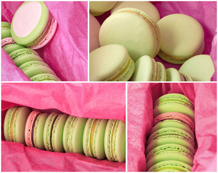 Delicious sweet buffet with colorful macarons in a box. high resolution collage photo