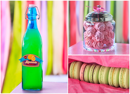 kiss biscuits: Delicious sweet buffet with lemonade, macarons, marshmallow on vivid striped background. high-resolution collage