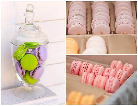 Delicious sweet buffet with colorful macarons. high resolution collage photo