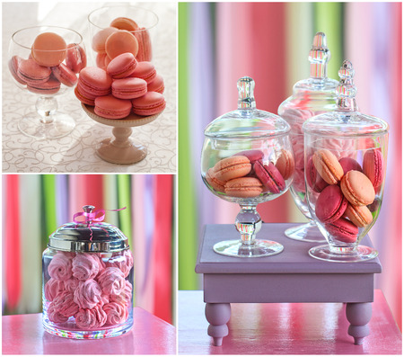 resolution: Delicious sweet buffet with colorful macarons and marshmallow . high resolution collage Stock Photo