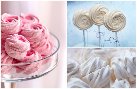 kiss biscuits: Delicious sweet buffet with tender marshmallow and merengues. high resolution collage