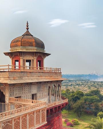 uttar pradesh: Agra Red Fort view on Taj Mahal from the tower, India, Uttar Pradesh