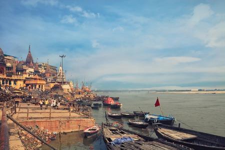 benares: A view of holy ghats of Varanasi Editorial