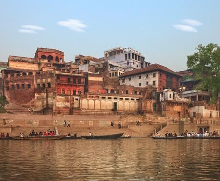 benares: A view of holy ghats of Varanasi Stock Photo