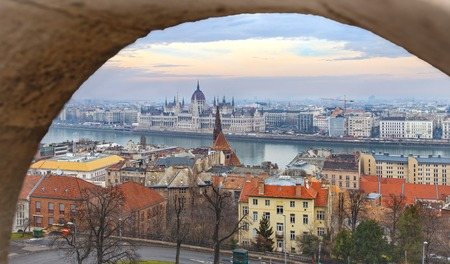 Parlament: View of Budapest and parlament from Matthias Church
