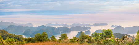 cat island: Viewpoint panorama of Halong Bay for Cat Ba island, Vietnam