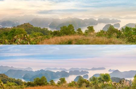 panoramas: Viewpoint panoramas of Halong Bay for Cat Ba island, Vietnam Stock Photo