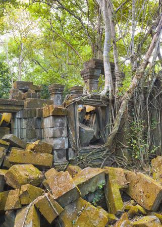 Beng Melea Temple Ruines dans le milieu de la forêt jungle Banque d'images - 43838001