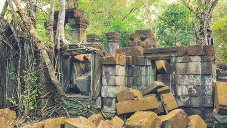 Beng Melea Temple Ruines dans le milieu de la forêt jungle Banque d'images - 43838007